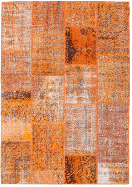 Patchwork Matto 161X230 Moderni Käsinsolmittu Oranssi/Vaaleanruskea (Villa, Turkki)