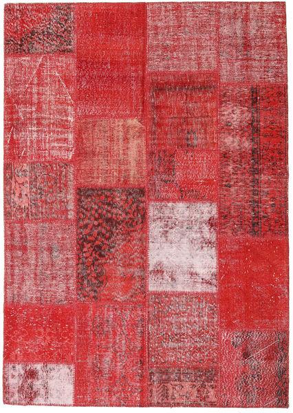 Patchwork Alfombra 162X230 Moderna Hecha A Mano Roja/Rojo Oscuro (Lana, Turquía)