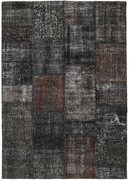 パッチワーク 絨毯 162X231 モダン 手織り 濃いグレー/黒 (ウール, トルコ)