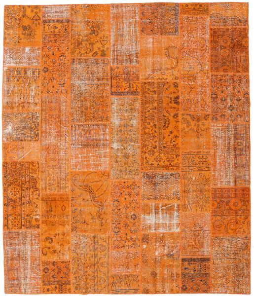 Patchwork Matto 253X299 Moderni Käsinsolmittu Oranssi/Vaaleanruskea Isot (Villa, Turkki)