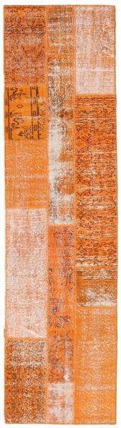 Patchwork Matto 81X304 Moderni Käsinsolmittu Käytävämatto Oranssi/Vaaleanruskea (Villa, Turkki)