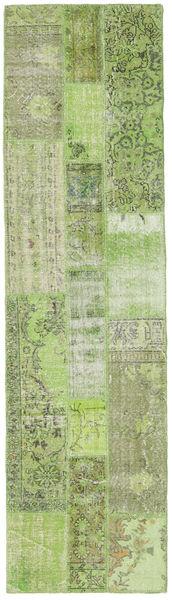 パッチワーク 絨毯 82X303 モダン 手織り 廊下 カーペット ライトグリーン/オリーブ色 (ウール, トルコ)