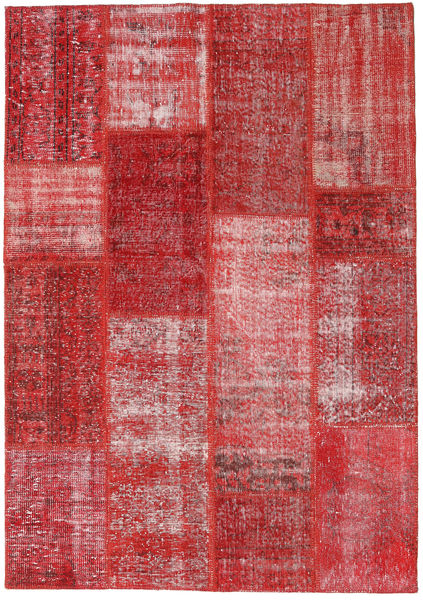 Patchwork Teppich  160X229 Echter Moderner Handgeknüpfter Dunkelrot/Rost/Rot (Wolle, Türkei)
