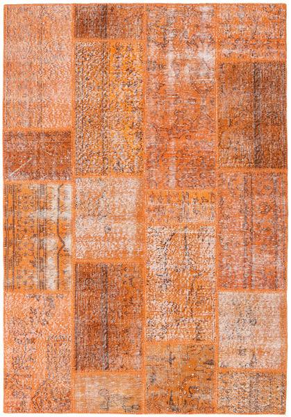 Patchwork Matto 161X233 Moderni Käsinsolmittu Oranssi/Vaaleanruskea (Villa, Turkki)
