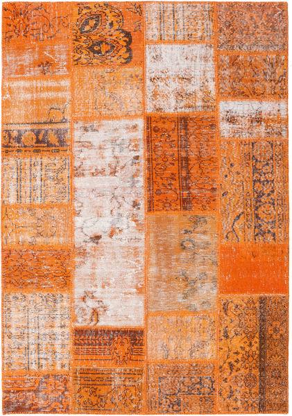Patchwork Matto 159X230 Moderni Käsinsolmittu Oranssi/Vaaleanpunainen (Villa, Turkki)