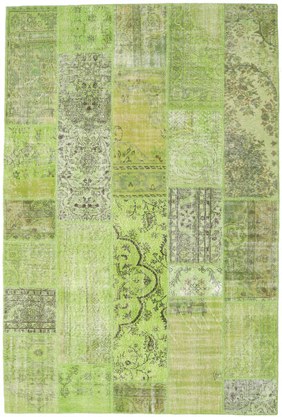 Patchwork Rug 202X302 Authentic  Modern Handknotted Light Green (Wool, Turkey)