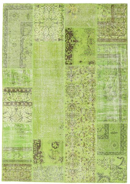 Patchwork Tappeto 161X230 Moderno Fatto A Mano Verde Chiaro/Verde (Lana, Turchia)