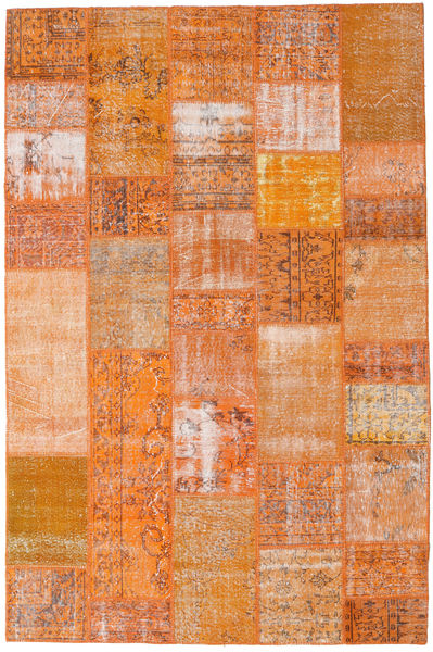 Patchwork Teppich  199X303 Echter Moderner Handgeknüpfter Orange/Hellbraun (Wolle, Türkei)