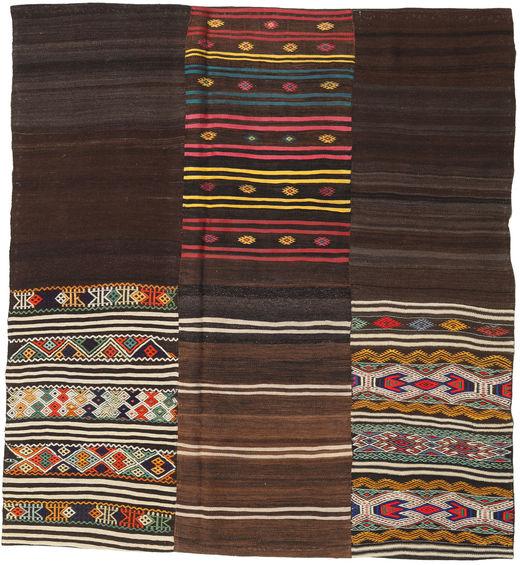 Kilim Patchwork Rug 208X226 Authentic  Modern Handwoven Square Dark Brown (Wool, Turkey)