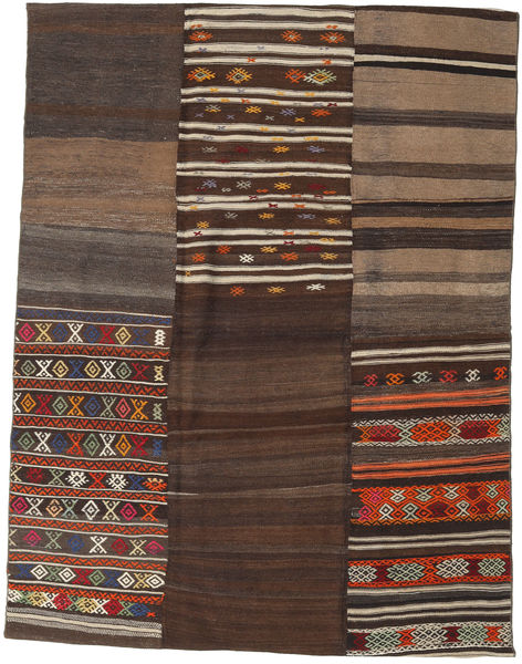 Kilim Patchwork Rug 178X234 Authentic  Modern Handwoven Dark Brown/Light Brown (Wool, Turkey)