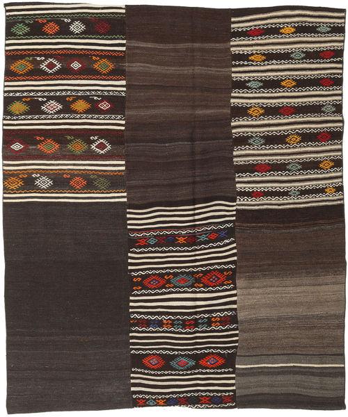 Kelim Patchwork Matto 195X231 Moderni Käsinkudottu Tummanruskea (Villa, Turkki)