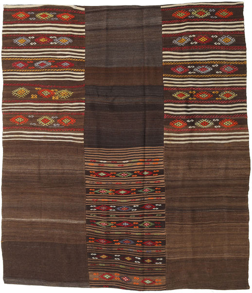 Kilim Patchwork Rug 197X226 Authentic  Modern Handwoven Dark Brown/Dark Red (Wool, Turkey)