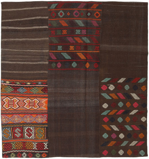 Kilim Patchwork Rug 206X217 Authentic  Modern Handwoven Square Dark Brown (Wool, Turkey)