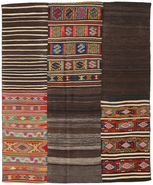 Kilim Patchwork Rug 194X234 Authentic  Modern Handwoven Dark Brown/Dark Red (Wool, Turkey)