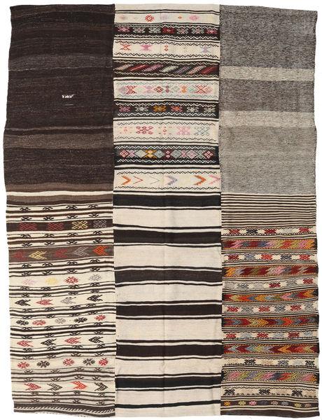Kilim Patchwork Rug 212X286 Authentic  Modern Handwoven Dark Brown/Light Brown (Wool, Turkey)