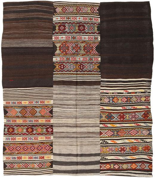 Kilim Patchwork Rug 214X250 Authentic  Modern Handwoven Dark Brown/Light Brown (Wool, Turkey)