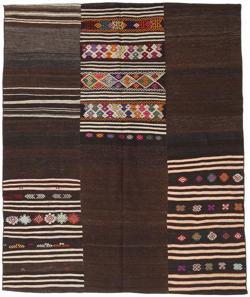 Kelim Patchwork Matto 188X229 Moderni Käsinkudottu Tummanpunainen/Tummanruskea (Villa, Turkki)