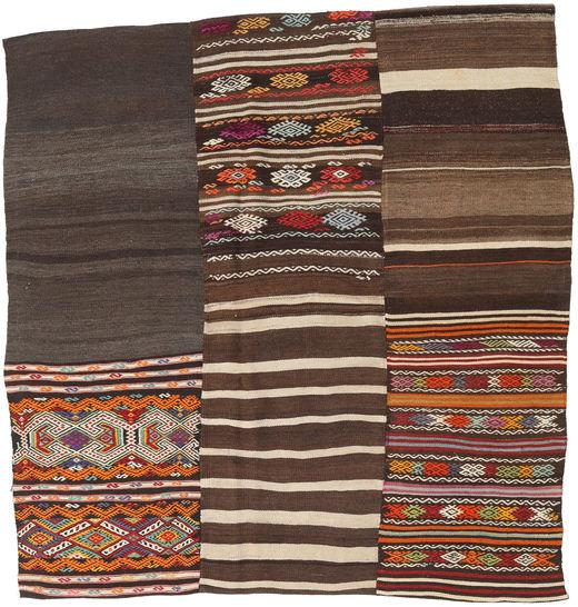 Kilim Patchwork Rug 185X197 Authentic  Modern Handwoven Square Dark Brown/Light Brown/Dark Grey (Wool, Turkey)