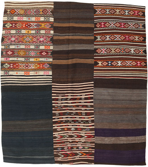 Kilim Patchwork Rug 213X239 Authentic  Modern Handwoven Black/Dark Brown/Light Brown (Wool, Turkey)