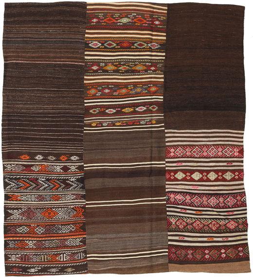 Kilim Patchwork Rug 204X230 Authentic  Modern Handwoven Dark Brown/Dark Red (Wool, Turkey)