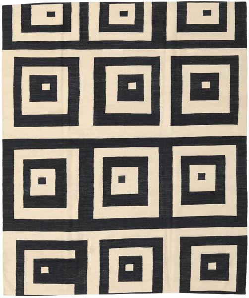 Kelim Moderni Matto 190X222 Moderni Käsinsolmittu Musta/Beige (Villa, Intia)