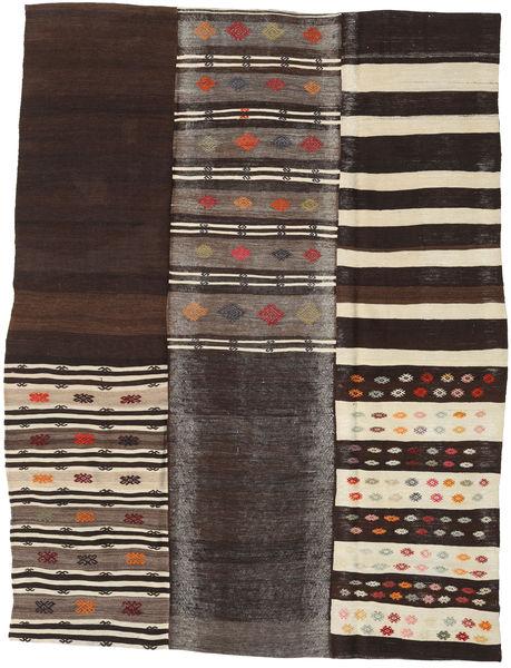 Kilim Patchwork Rug 202X260 Authentic  Modern Handwoven Dark Brown/Light Brown (Wool, Turkey)
