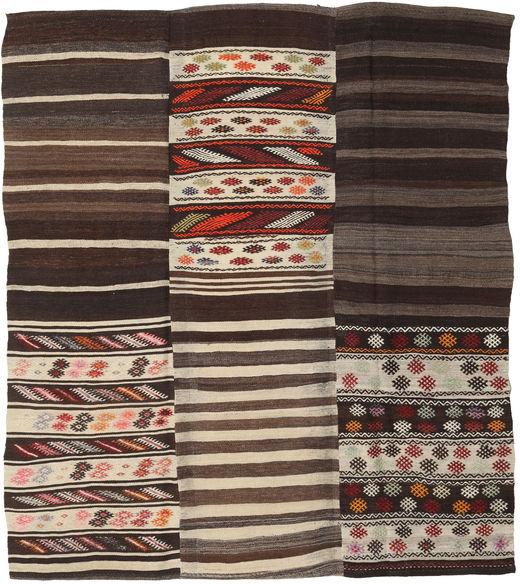 Kilim Patchwork Rug 192X220 Authentic  Modern Handwoven Light Brown/Dark Red/Dark Brown (Wool, Turkey)