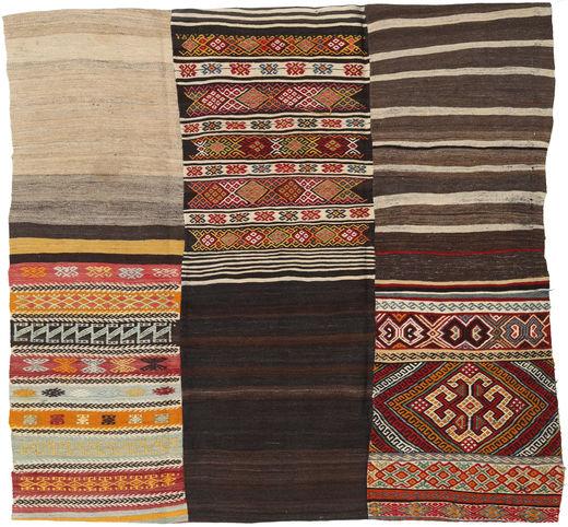 Kilim Patchwork Rug 214X222 Authentic  Modern Handwoven Square Dark Brown/Light Brown (Wool, Turkey)