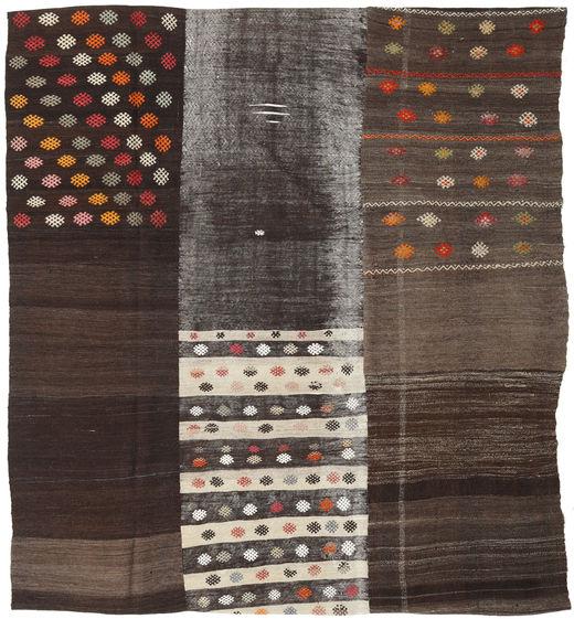 Kilim Patchwork Rug 206X226 Authentic  Modern Handwoven Square Dark Brown (Wool, Turkey)