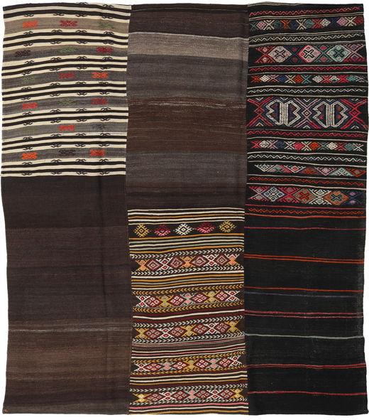 Kilim Patchwork Rug 226X259 Authentic  Modern Handwoven Dark Brown/Light Brown (Wool, Turkey)