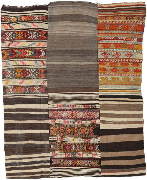 Kilim Patchwork Alfombra 199X253 Moderna Tejida A Mano Marrón Claro/Gris Oscuro (Lana, Turquía)