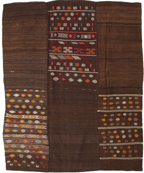 Kilim Patchwork Rug 199X248 Authentic  Modern Handwoven Dark Brown/Dark Red (Wool, Turkey)