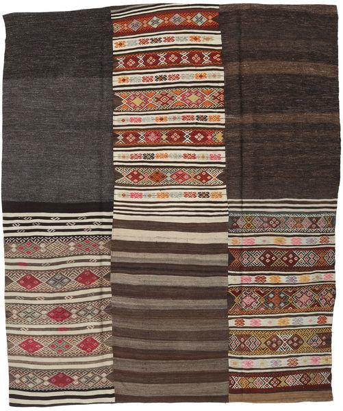 Kilim Patchwork Rug 218X262 Authentic  Modern Handwoven Dark Brown/Light Brown/Black (Wool, Turkey)
