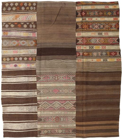 Kilim Patchwork Rug 212X240 Authentic  Modern Handwoven Brown/Dark Brown/Light Brown (Wool, Turkey)