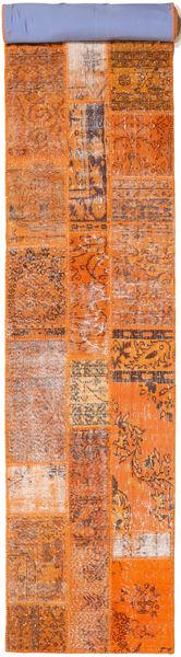 Patchwork Rug 80X506 Authentic  Modern Handknotted Hallway Runner  Orange/Light Brown (Wool, Turkey)