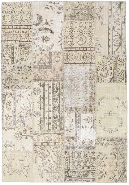 Patchwork Matto 161X235 Moderni Käsinsolmittu Vaaleanharmaa/Beige (Villa, Turkki)