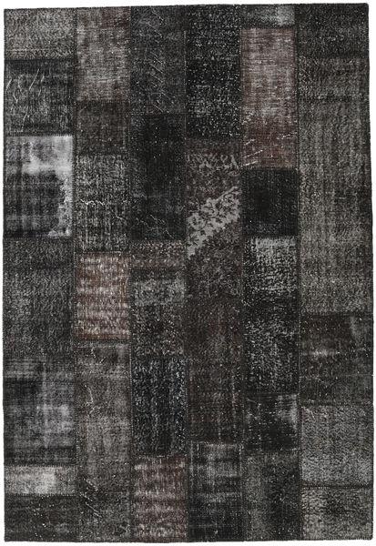 Patchwork Tapis 204X298 Moderne Fait Main Noir/Gris Foncé (Laine, Turquie)
