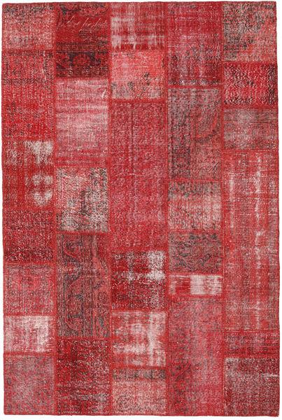 Patchwork Matto 200X302 Moderni Käsinsolmittu Tummanpunainen/Punainen (Villa, Turkki)