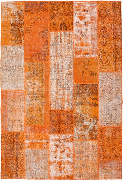 Patchwork Matto 202X299 Moderni Käsinsolmittu Oranssi/Vaaleanpunainen (Villa, Turkki)