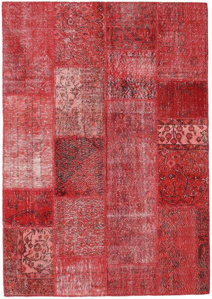 Patchwork Matto 162X231 Moderni Käsinsolmittu Punainen/Tummanpunainen (Villa, Turkki)