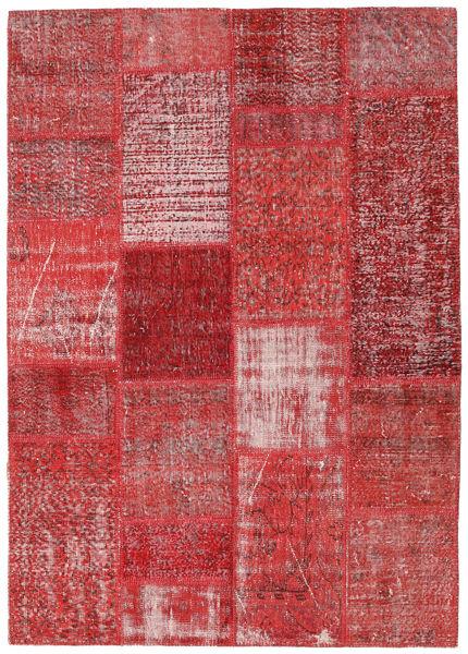Patchwork Matto 163X230 Moderni Käsinsolmittu Tummanpunainen/Violetti (Villa, Turkki)