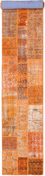 Patchwork Rug 80X503 Authentic  Modern Handknotted Hallway Runner  Orange/Light Brown (Wool, Turkey)