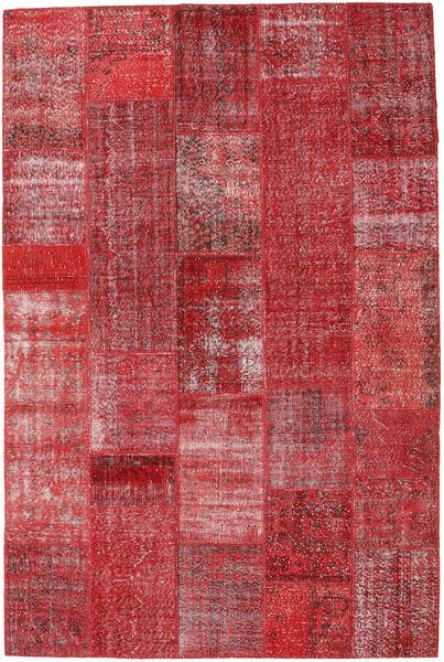 Patchwork Matto 203X305 Moderni Käsinsolmittu Punainen/Tummanpunainen (Villa, Turkki)