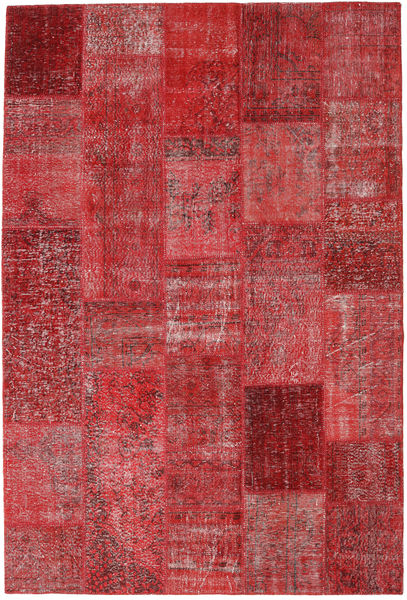 Patchwork Matto 201X299 Moderni Käsinsolmittu Tummanpunainen/Punainen (Villa, Turkki)