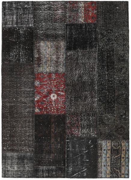 Patchwork Matto 164X229 Moderni Käsinsolmittu Musta/Tummanharmaa (Villa, Turkki)