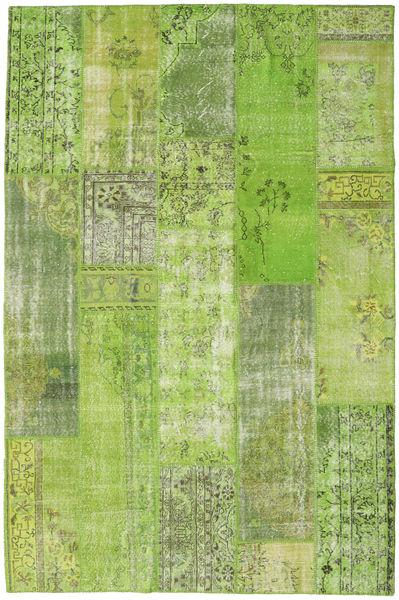 Patchwork Rug 202X306 Authentic  Modern Handknotted Light Green/Green /Olive Green (Wool, Turkey)
