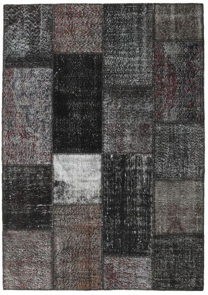 Patchwork Matto 162X230 Moderni Käsinsolmittu Tummanharmaa/Musta (Villa, Turkki)