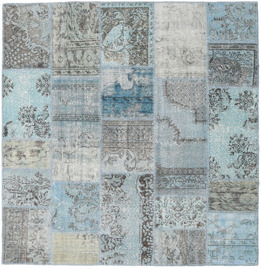 Patchwork Rug 195X200 Authentic  Modern Handknotted Square Light Blue/Light Grey (Wool, Turkey)