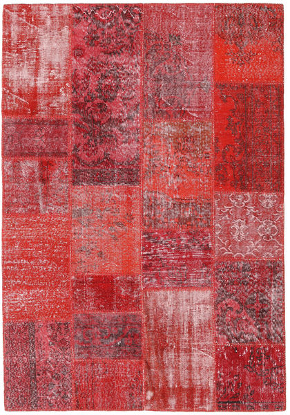 Patchwork Teppe 160X232 Ekte Moderne Håndknyttet Rød/Rosa (Ull, Tyrkia)