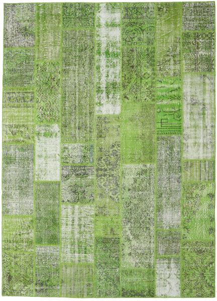 Patchwork Matto 252X351 Moderni Käsinsolmittu Vaaleanvihreä/Pastellinvihreä/Tummanvihreä Isot (Villa, Turkki)